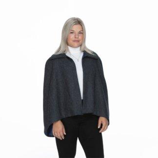 Shorter Length Tweed Collar Wraparound Cape