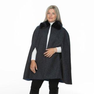 Regular Length Faux-Fur Collar Wraparound Cape