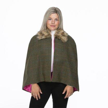 Georgina Wraparound Short Faux Fur Collar cape